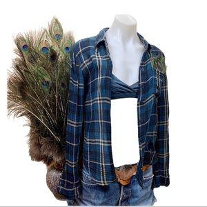 Free People Boho Flannel Plaid Button Down Shirt